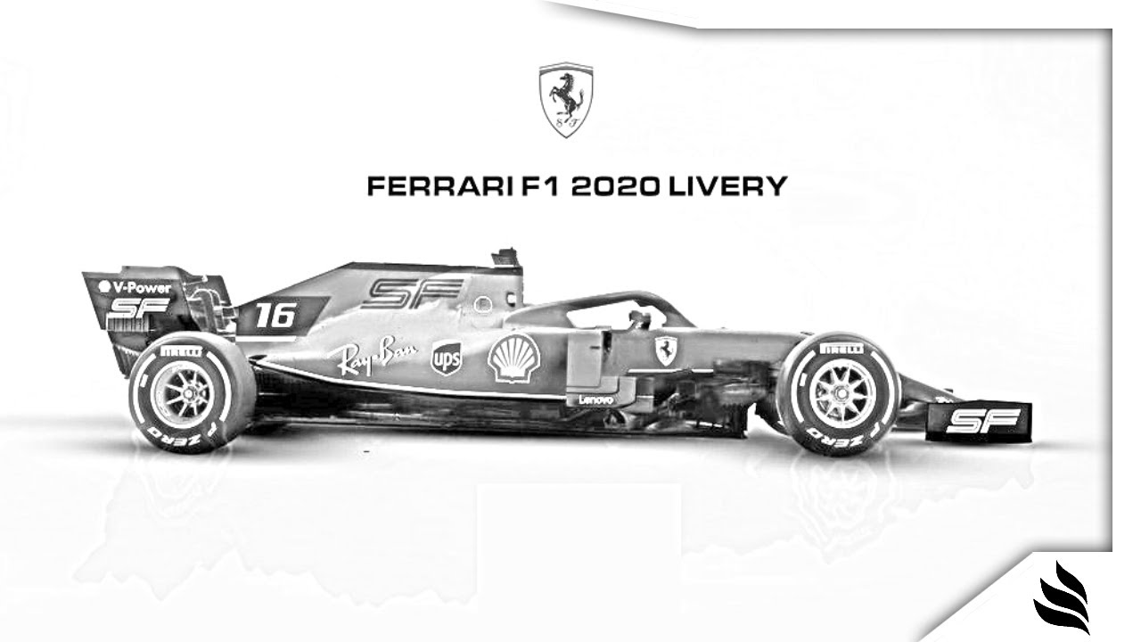 How To Draw 2020 Ferrari F1 Car In 40 Seconds Youtube