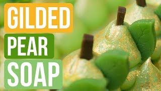 Gilded Pear Soap with Custom Soap Seeds | Royalty Soaps
