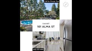 Guided Virtual Tour of 101 Alma St, Unit 607 in Palo Alto, CA.