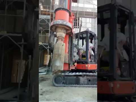 Tes Car Cf2 5 A Mini Piling Rig Drilling Into Stone