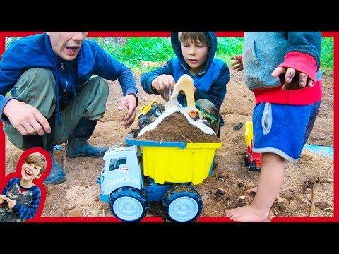 Dump Truck and Monster Truck Volcano For Kids