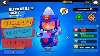 Ultra Driller Jacky Review   Voice Lines   Animation   Gameplay   Concept - Brawl Stars
