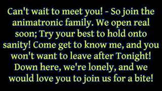 "JT Machinima ft. Andrea Storm Kaden - ""Join Us For A Bite (FNAF Sister Location Song)"" lyrics"