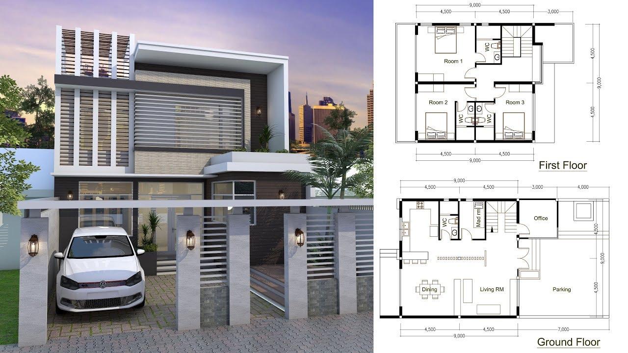 Sketchup Modern Home Plan 9x9m Youtube