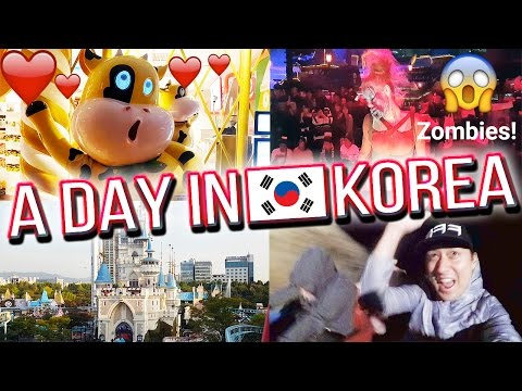 Cory's Birthday, Soju Drinks, and Halloween Zombies at Lotte World! - A DAY IN KOREA 🇰🇷 #3