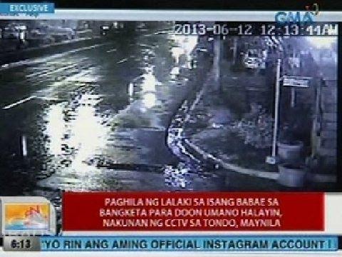 UB: Exclusive: Paghila ng lalaki sa isang babae sa bangketa para doon umano halayin, nakunan ng CCTV