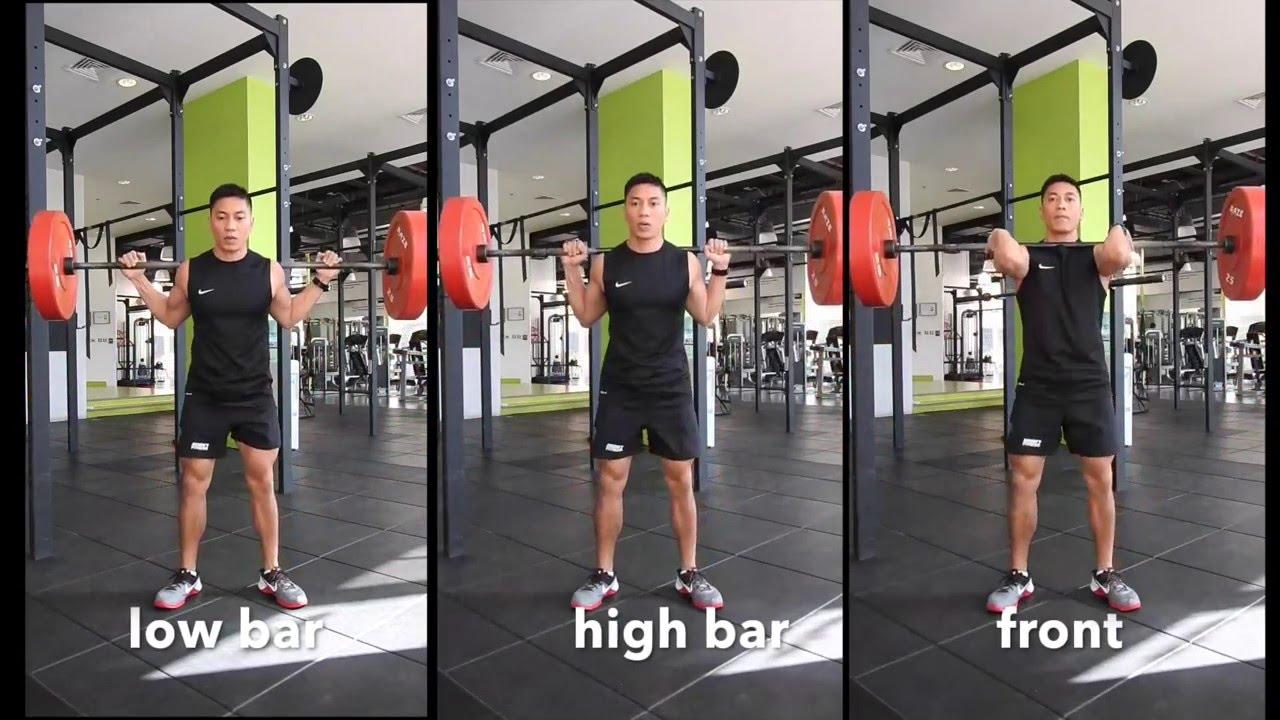 27c3215acf2310 Low Bar Squat vs High Bar Squat vs Front squat - YouTube