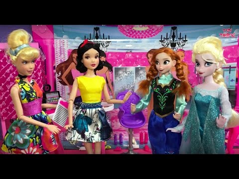 Dress Up! Elsa Anna & Barbie Play Makeup Dresses Makeover Hairstyles Disney Princess Dolls Fashion