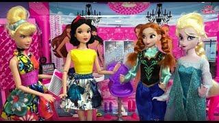Dress Up! Elsa Anna & Barbie Play Makeup Dresses Makeover Hairstyles Disney Princess Dolls Fashion