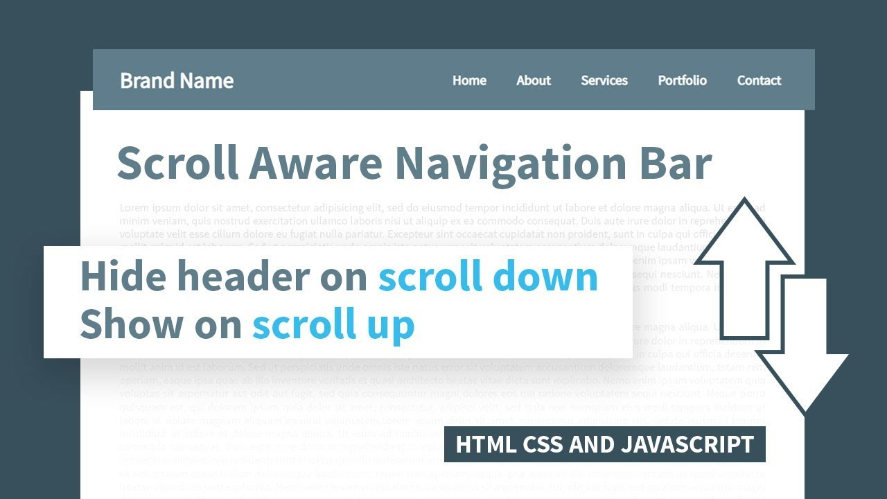 Hide Header on Scroll Down Show on Scroll Up   Html CSS & Javascript