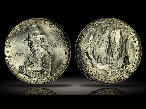 1921 Pilgrim Tercentenary Commemorative Half Dollar PCGS MS66+ Flashy Example
