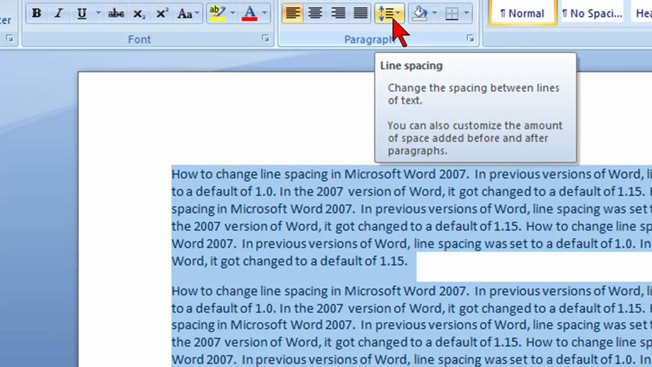 How to change the line spacing in the Word
