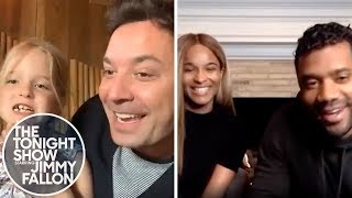 Jimmy's Daughter Loses a Tooth While He Interviews Russell Wilson and Ciara