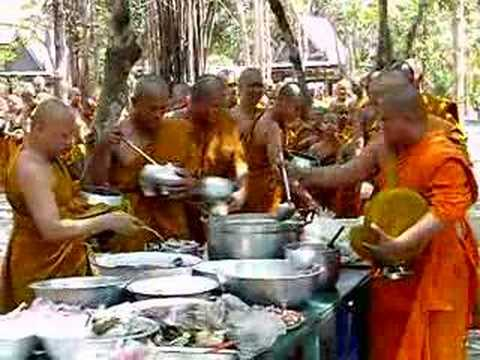 Buddhist monks meal.