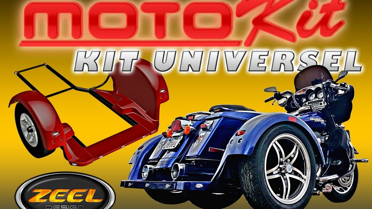 zeel design motokit kit 3 roues pour moto youtube. Black Bedroom Furniture Sets. Home Design Ideas