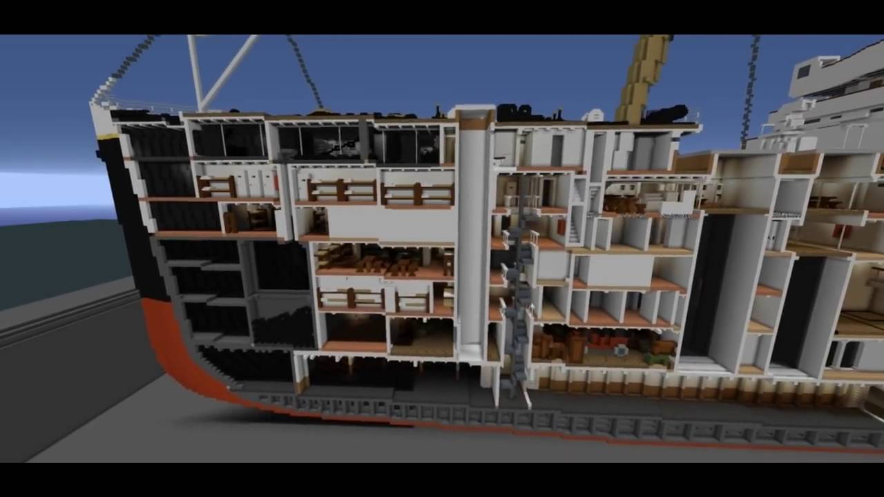titanic in minecraft 4 1 scale the most detailed model with interiors with download youtube. Black Bedroom Furniture Sets. Home Design Ideas