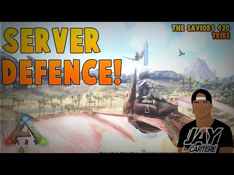 Ark Survival Evolved PS4 Official PVP EP 21 - Server Raid Defence! - Cross Server Raiders [RAID CAM]
