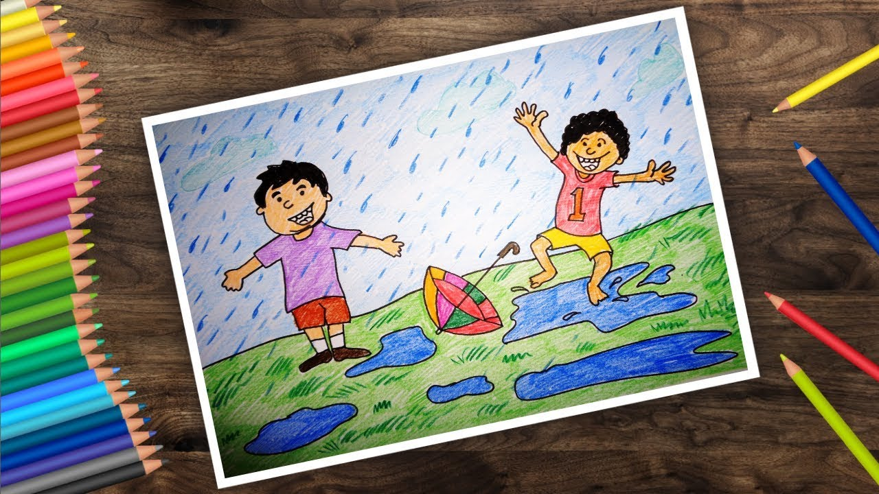How To Draw Rainy Season Drawing Easy Boys Playing In Rain