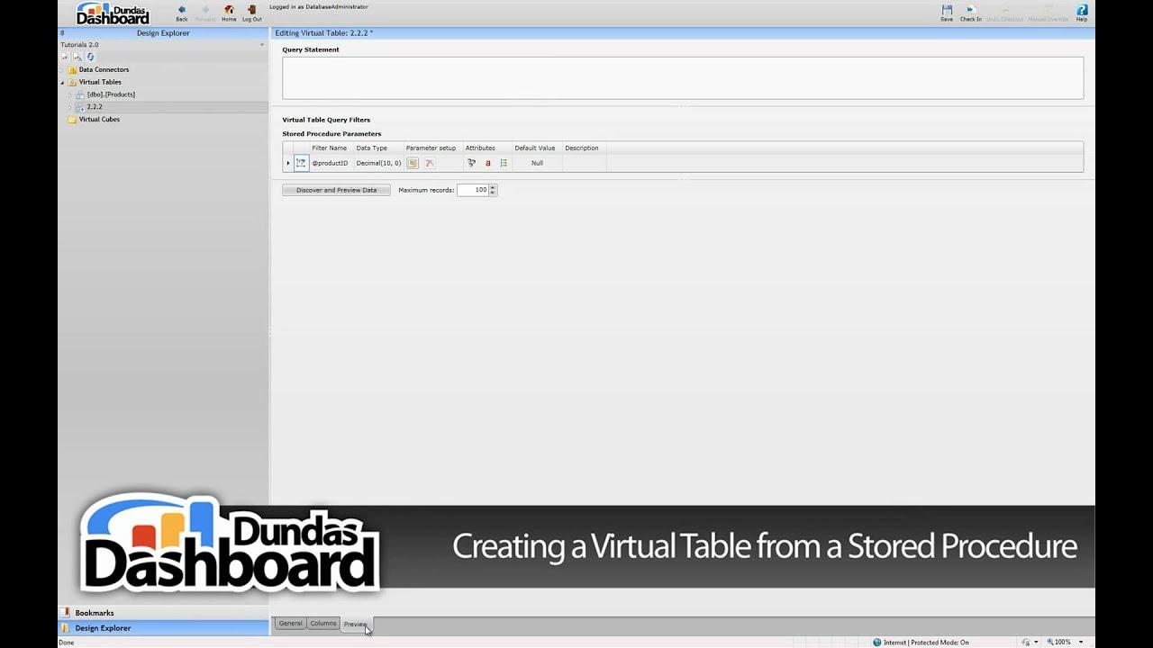 2 2 2 Creating a Virtual Table from a Stored Procedure - Dundas Dashboard  Tutorials Series 2