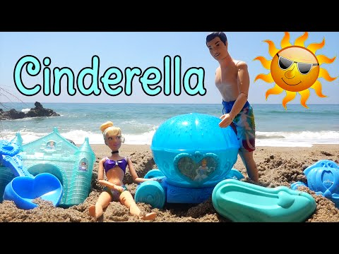 Cinderella Sand Toy Play Set ! Toys and Dolls Fun Day at the Beach With Prince Charming