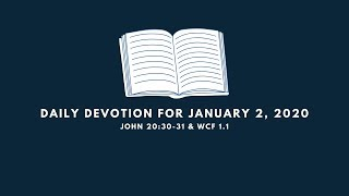 Daily Devotion for January 2, 2020