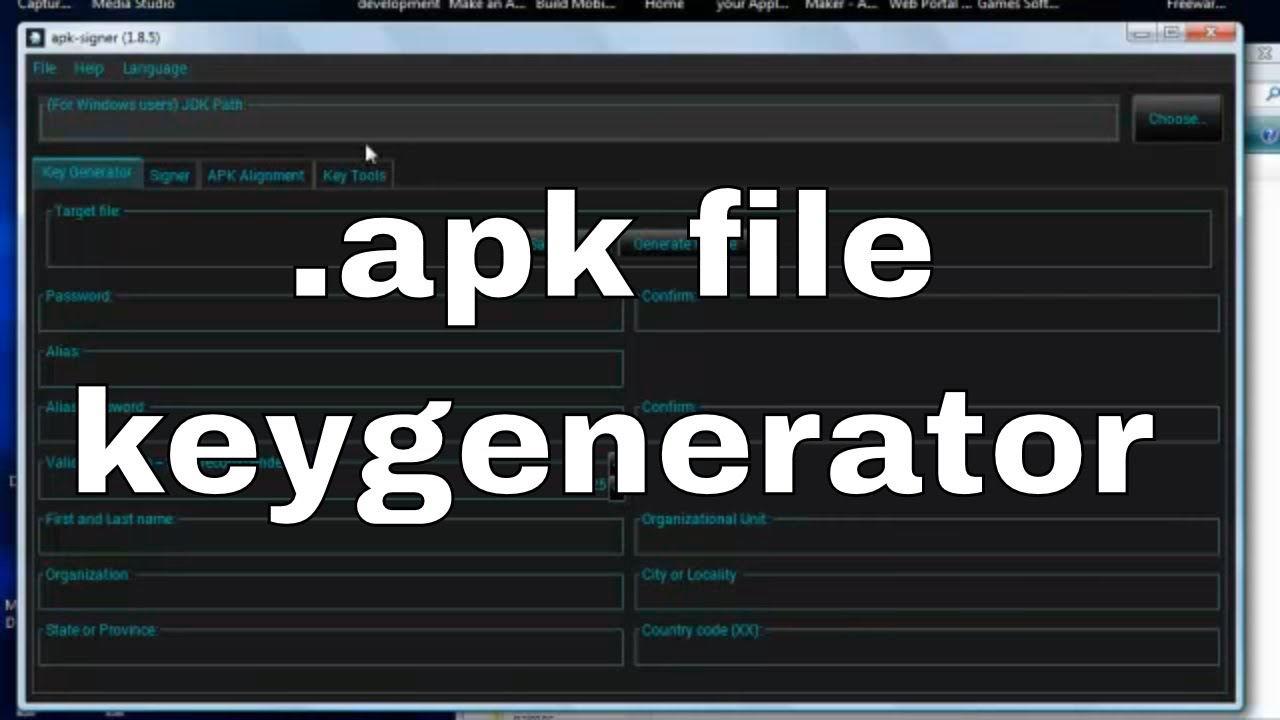 keygen for creating signed  keystore files for  apk (android) file  publishing - no coding (easy)