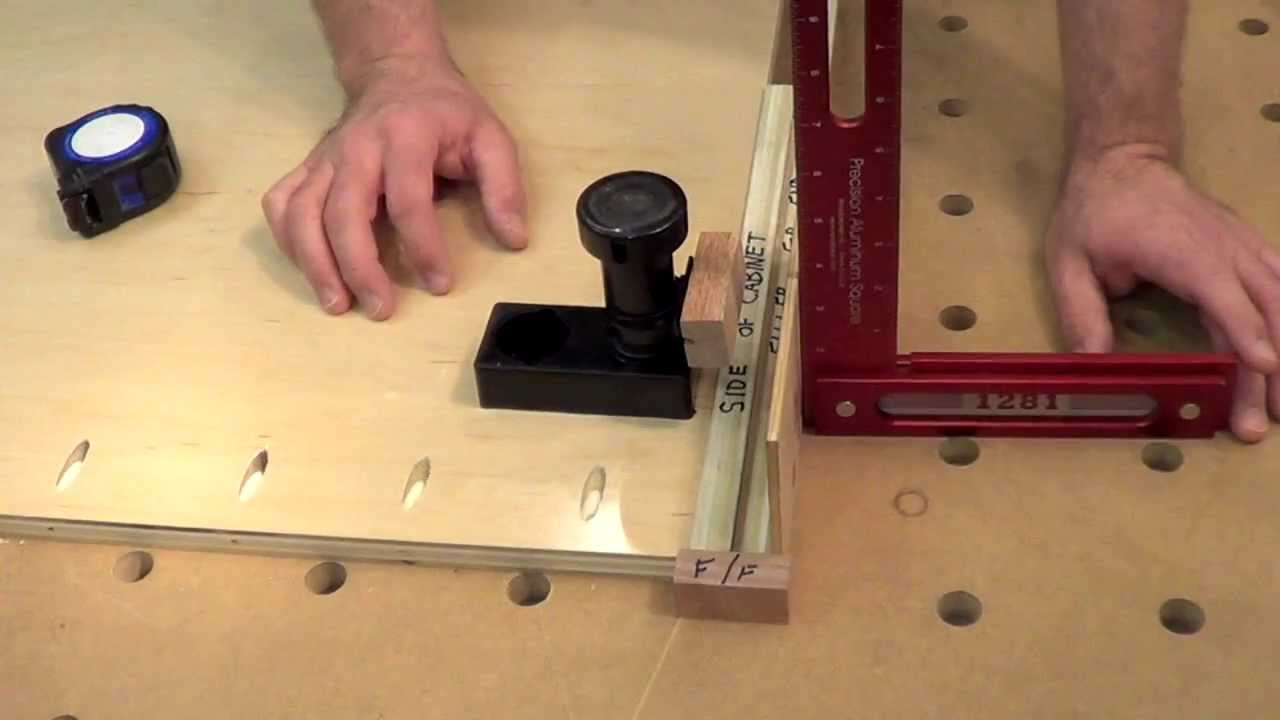Building Kitchen Cabinets part 6. Locating the adjustable legs - YouTube