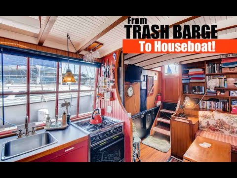 From TRASH BARGE To A Gorgeous Houseboat Rental!