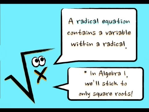 Solving of Radical Equations-Grade 9 Math Review Lesson 10.4 - YouTube
