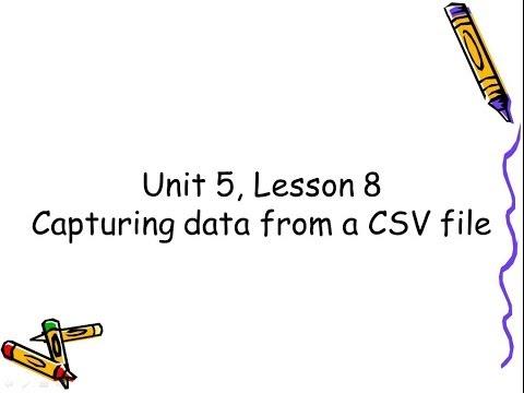 Unit 5, Lesson 8   Capturing data