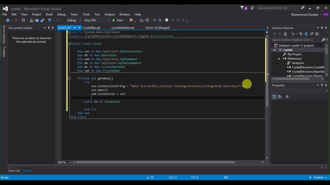 How to create crystal report in visual studio 2015 with sql server 2008