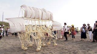 【HTBニュース】テオ・ヤンセンの巨大アート 石狩浜の風を受けて…