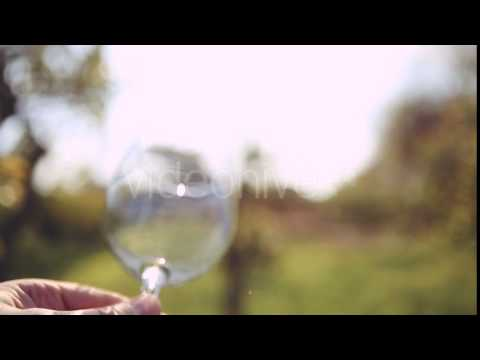 Hand Twists Transparent Empty Glass On The Background Of The Sun. - Stock | VideoHive 15508003
