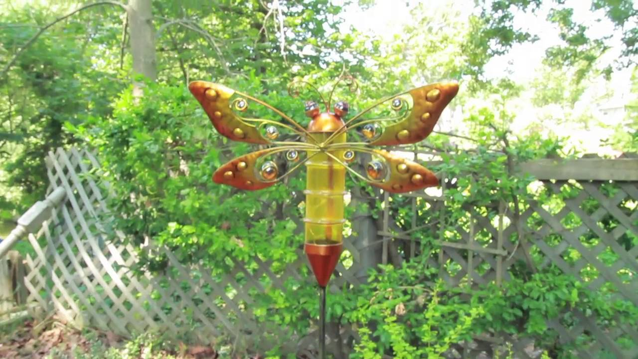 Outdoor Solar Powered Metal Dragonfly Garden Stakes | Palmate™ Yard ...