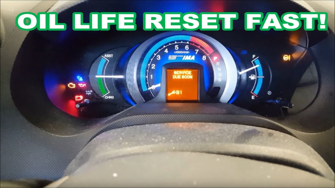 2010 Honda Insight Oil Life Reset In 35seconds Accord Civic