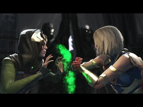 Injustice 2 : Enchantress Vs Supergirl & Power Girl - All Intro/Outros, Clash Dialogues, Super Moves