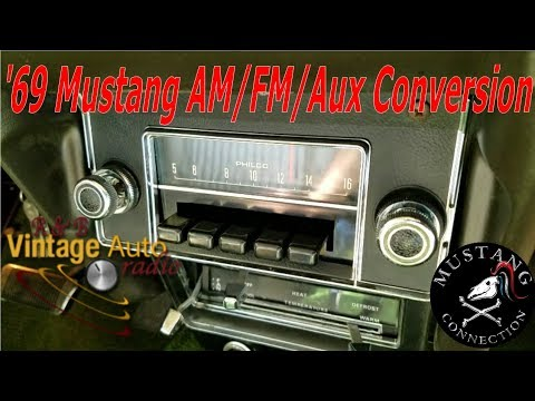 1969 mustang am radio conversion to am/fm/aux r and b vintage radio mustang  connection - youtube  youtube