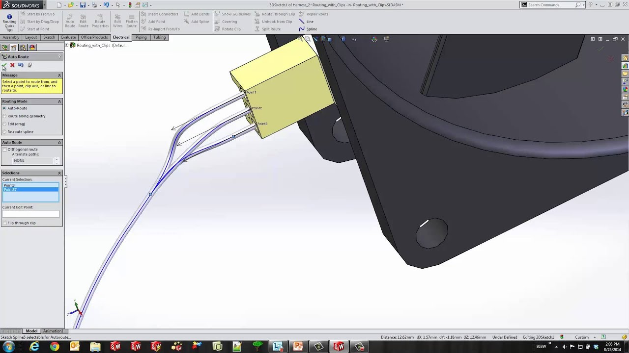 solidworks routing electrical cables [ 1280 x 720 Pixel ]