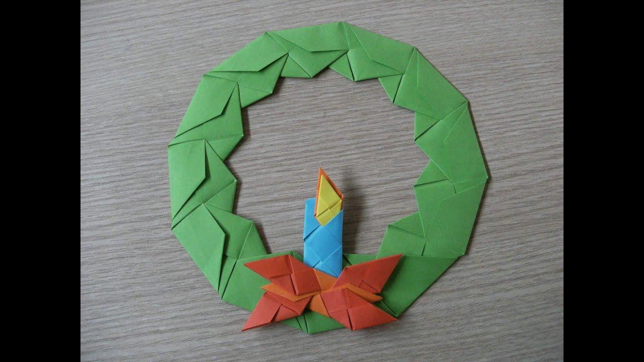 origami - advent wreath with candle - wieniec adwentowy ze świecą ...