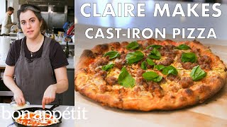 claire-makes-cast-iron-skillet-pizza-from-the-test-kitchen-bon-apptit