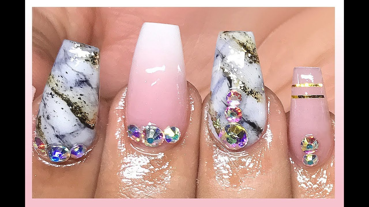 How To Marble Amp Baby Boomer Acrylic Nails Youtube