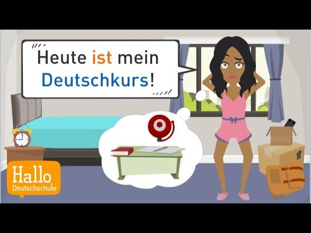 Deutsch lernen | Nola kommt zu spät in den Deutschkurs! Aber sie lernt dort Raphael kennen...
