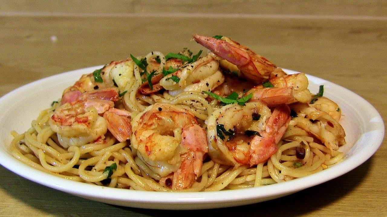 Spaghetti mit Knoblauch Garnelen gebratene Knoblauch Garnelen mit  Spaghetti spaghetti shrimp scampi