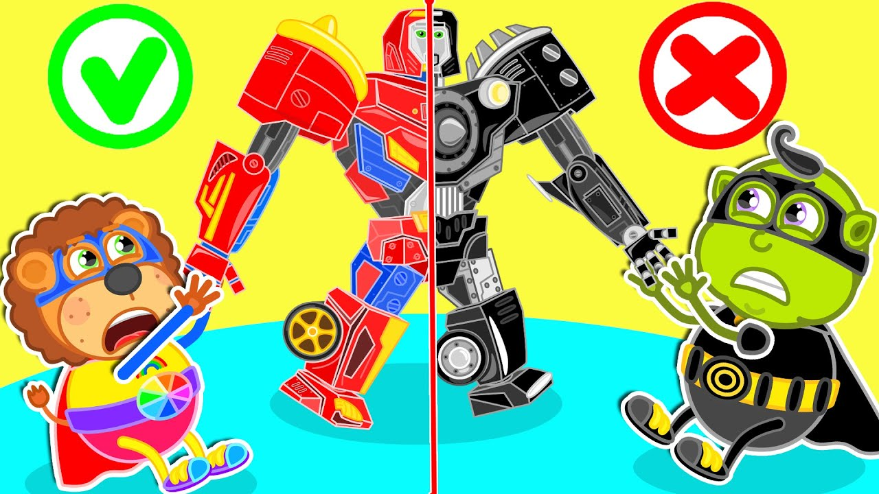 Superhero Saves Friend from Bad Himself Robot Copied | Lion Family | Cartoon for Kids