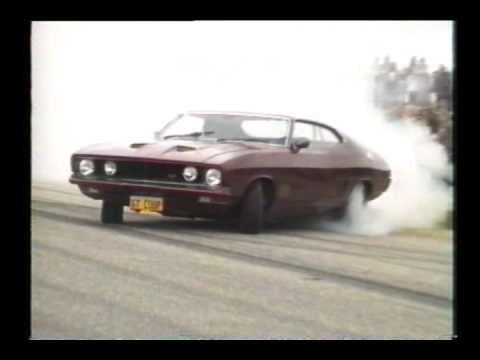 429 ci XB GT Falcon Coupe @ burnout comp in Loxton - YouTube