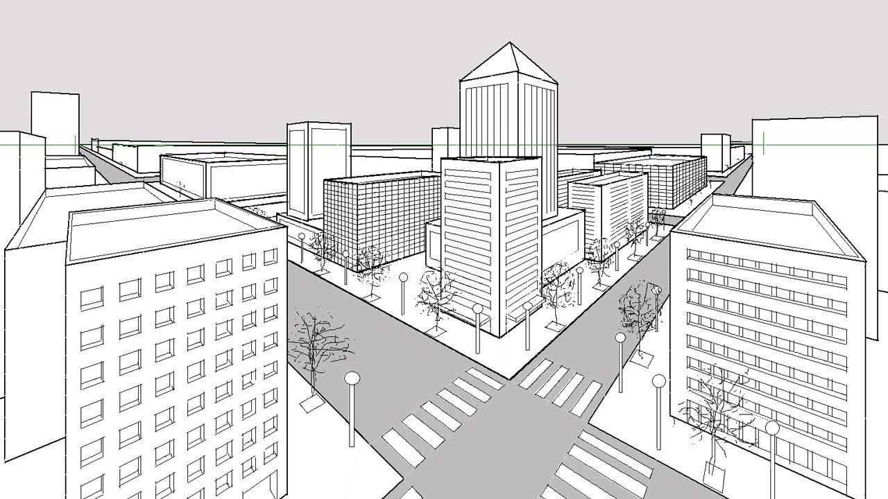 Cómo dibujar una ciudad utilizando perspectiva de dos puntos de fuga ...