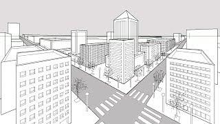 Cómo dibujar una ciudad utilizando perspectiva de dos puntos de fuga-How to draw a city perspective.