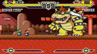 Super Mario and Super Luigi vs Bowser and Chomper MUGEN Battle!!!