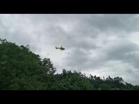 El helicóptero del 061, en A Estrada