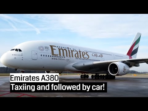 Emirates Airbus A380 Taxiing To Gate At Zurich Airport | 4K